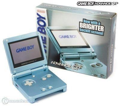 Game Boy Advance Sp Pearl Blue Doble Brillo Completo