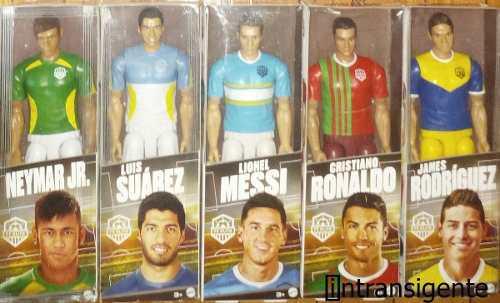 Neymar Suarez Messi Ronaldo James 5 Figuras Mattel Fc Elite