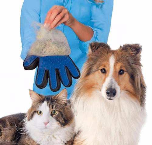 Guante Cepillo Azul Para Perro O Gato Quita Pelo