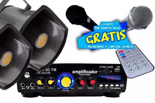 Kit Perifoneo 2 Trompetas 2 Micros Adaptador Y Amplificador