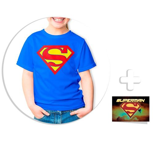 Envío Gratis Playera Para Niño Superman + Sticker