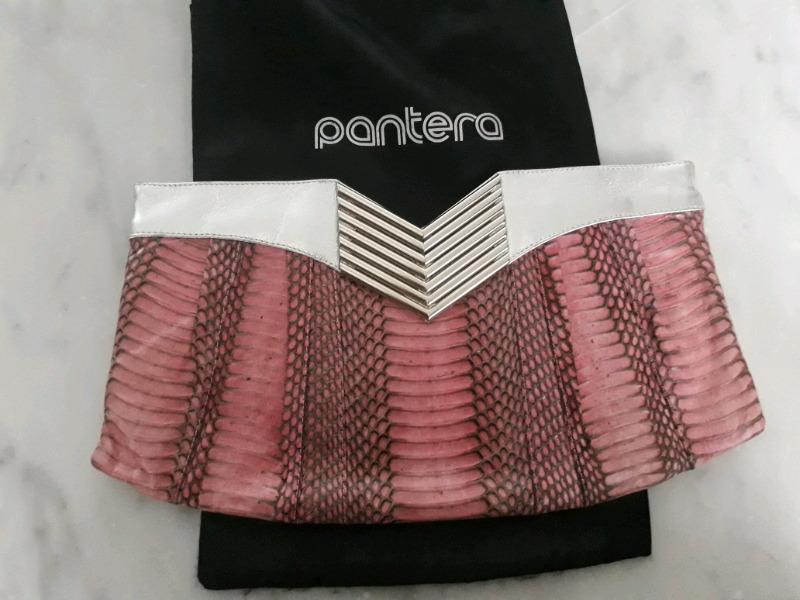 Bolsa Pantera piel de víbora rosa