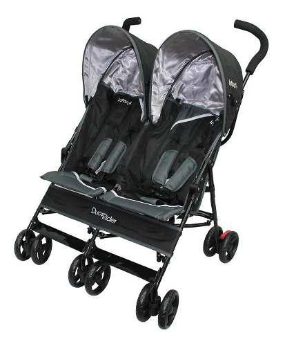Carriola De Baston Bebe Infanti Doble Duo Negro/gris