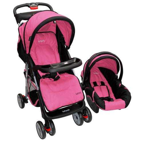Carriola De Bebe Con Portabebe Infanti Lenni Rosa