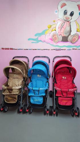 Carriola Gemela Baby Tek Empaquetada Rosa Rojo Cafe Azul