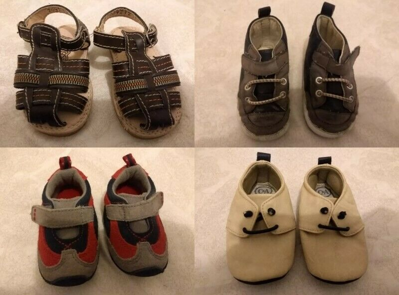 Lote de 4 piezas zapatos tennis y guaraches para bebe