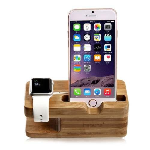 Soporte Base De Bambú Apple Iwatch Y Iphone Para Escritorio