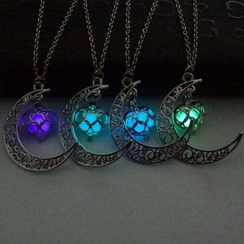 2x1 Collar Luna Corazon Brilla En Obscuridad Dhl Gratis