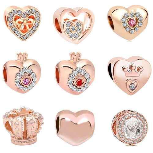 9 Charms Rosas Y Cristales Compatibles Con Pulsera Pandora