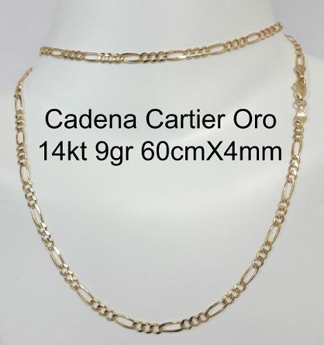 Cadena Tipo Cartier De Oro Macizo 14k 60cm Pesa 9.9gr 4mm