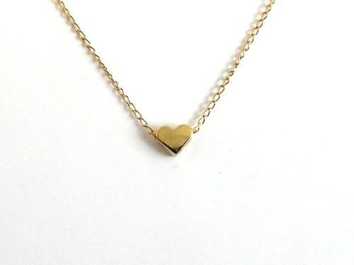 Collar Con Dije Mini Corazón Para Mujer Chapa De Oro 14k