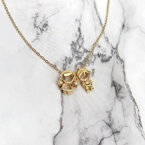 Collar De Niños Pareja Gemelos Regalo Mama Chapa De Oro 22k