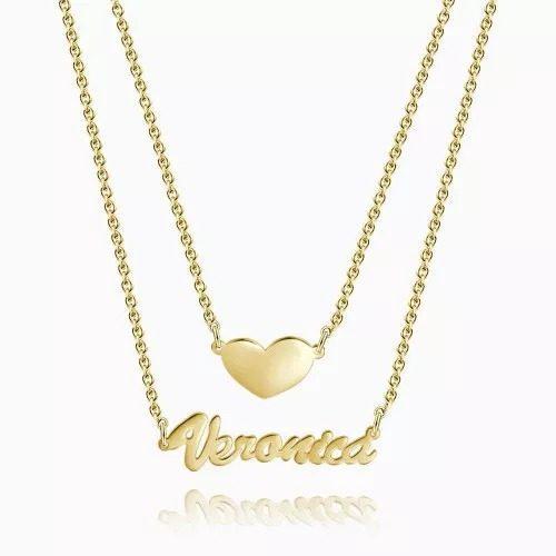 Collar Doble Nombre Y Corazón En Plata.925 Baño En Oro 18k