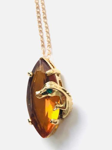 Collar Iguana Swarovski Y Oro Lam. + Aretes Regalo Sorpresa