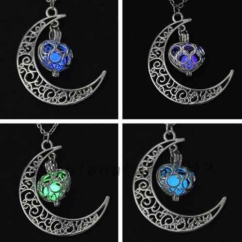 Collar Luna Corazon Brilla Oscuridad Envío Gratis!!!