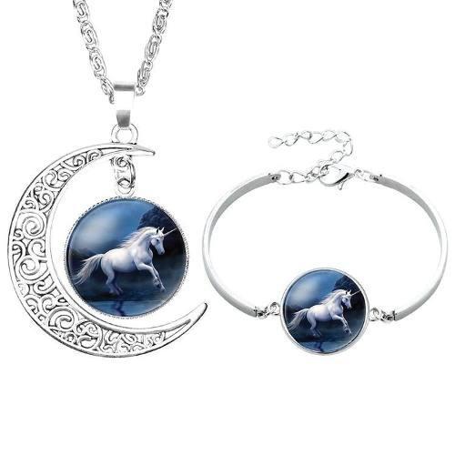 Collar Luna Y Unicornio + Pulsera Regalo + Precio De Mayoreo
