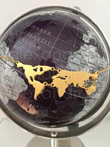 Collar Mapa Mundi Mapamundi Acero Inox Dorado O Plateado