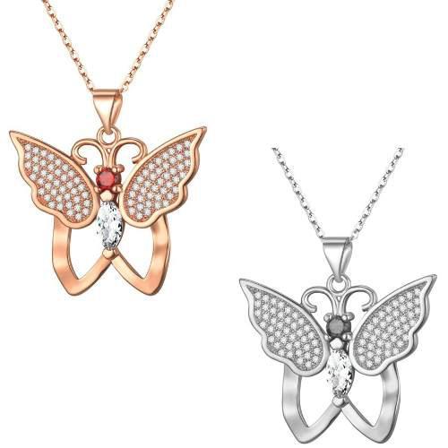 Collar Mariposa Titanio Baño Oro 18k Swarovski Envío
