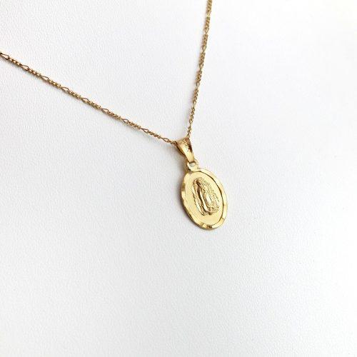 Collar Medalla De Virgen De Guadalupe Chapa De Oro De 22k