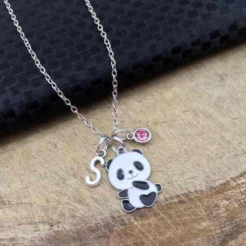 Collar Panda Dije Oso Collar Personalizado Letra Regalo Amor