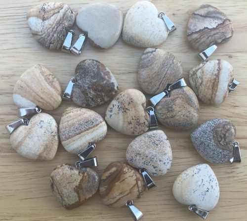 Corazón Jaspe Piedra Natural Dije Tamaño 2cm Unisex Gh2