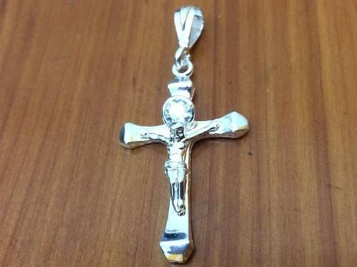 Dije D Plata Ley925 Cruz Con Cristo Y Piedra De Zirconia D12