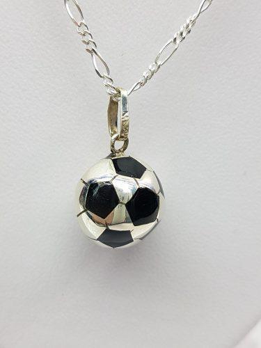 Dije De Balon De Futbol Plata Ley.925 Incluye Cadena Mod02