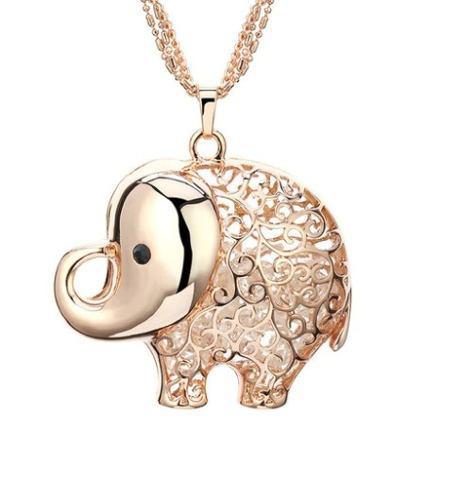 Dije De Elefante Oro Rosa Laminado De 5 Cm Y Cadena Triple