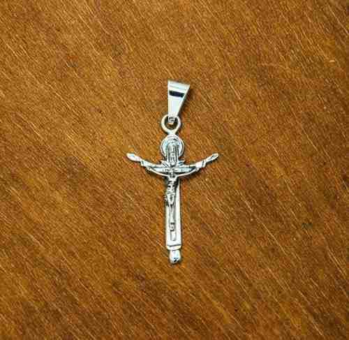 Dije De Plata Crucifijo Dios Padre, Hijo Y Espiritu Santo.
