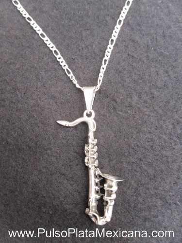 Dije Plata Ley 925 Saxofón Pavonado Con Cadena Cartier 50
