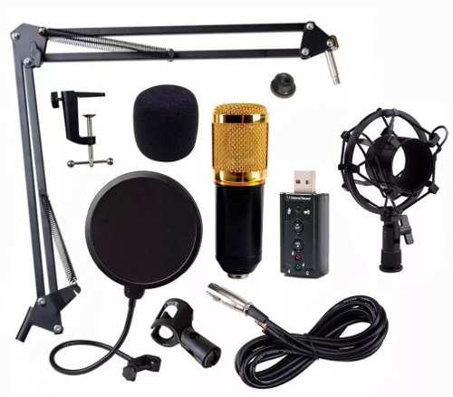 Kit Microfono Condensador Bm800 Tarjeta Usb Youtuber