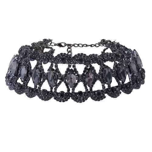 Lujoso Collar Choker Gargantilla Moda Cristal Negro Envío