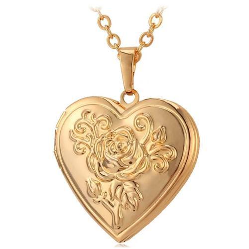 Medallón Dije Corazon Para Foto Acero Inoxidable Y Oro