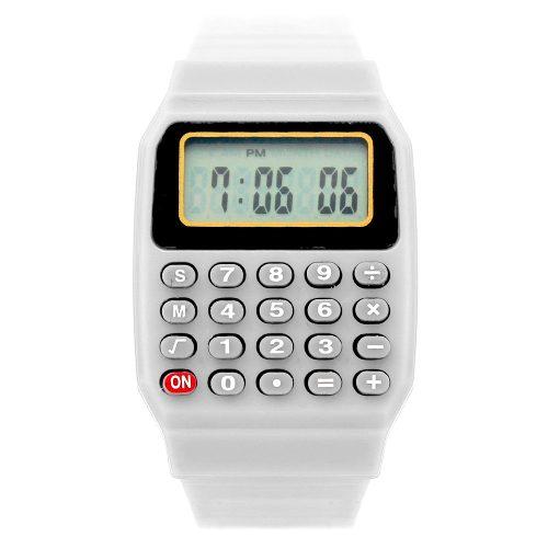 Reloj Calculadora Hombre Mujer Digital Exacte Retro Blanco
