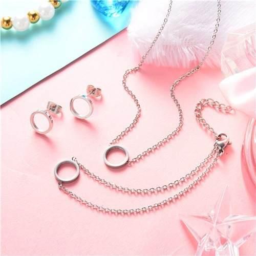 Set Collar + Pulsera + Aretes Circulo Acero 316l