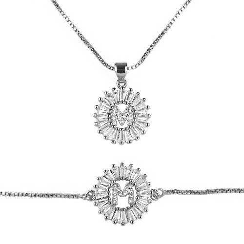 Set Collar Pulsera Inicial Zirconias Plata Plateado + Cajita