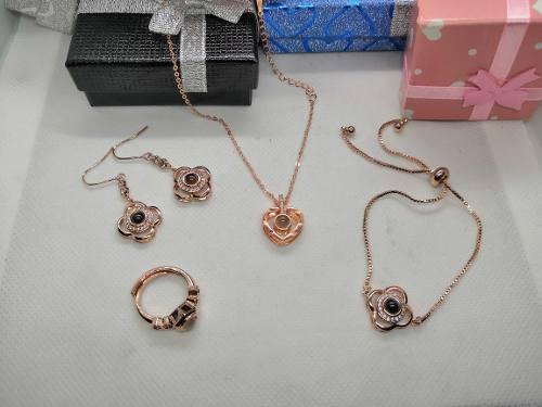Set Collar Te Amo 100 Idiomas +brazalete+anillo+aretes+caja