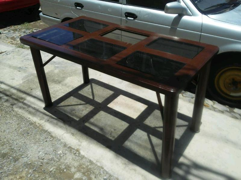 mesa para comedor 6 sillas con sus cristales completos