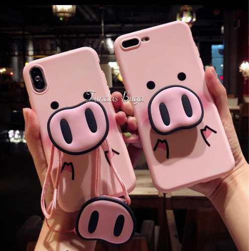 Funda Iphone 5 7 8 X Xr 6p Xsmax Silicon Cerdito Rosa Se