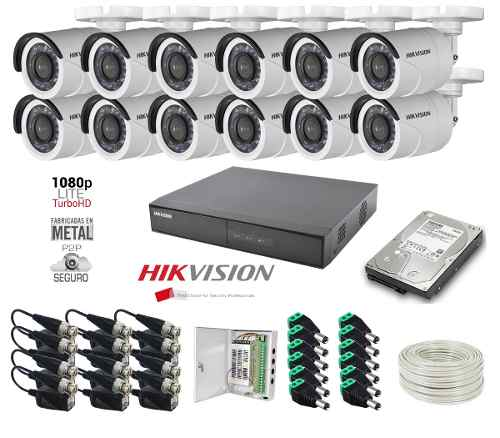 Kit 12 Cámaras 2 Mp p Metal 2tb 100m Utp 16ch Hikvision