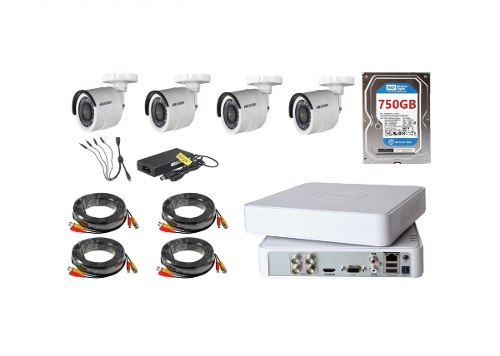 Kit De 4 Camaras Hikvision Hd mp Metal 750gb