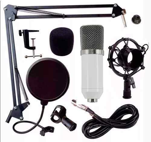 Kit Microfono Condensador Bm700 Tarjeta Usb Youtuber Blanco