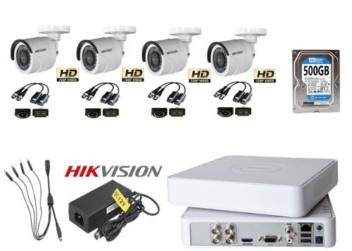 Kit Video Vigilancia 4 Cámaras Hd 720 Baluns Hikvision