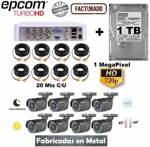Kit Video Vigilancia 8 Camaras Metalica Epcom 720p 1 Tb