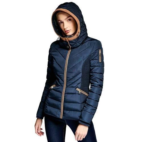 Chamarra Larga Invernal Para Mujer Ceñida Azul Marino