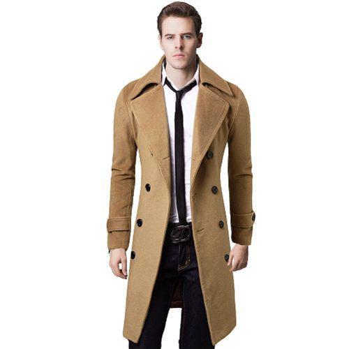 Hombres 's Elegante Zanja Coat Invierno Chaqueta Doble Breas
