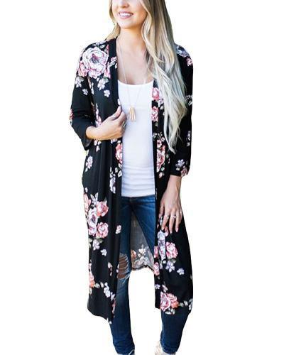 Nuevo Rebeca Largo Mujeres Retro Kimono Abierto Frente Flora