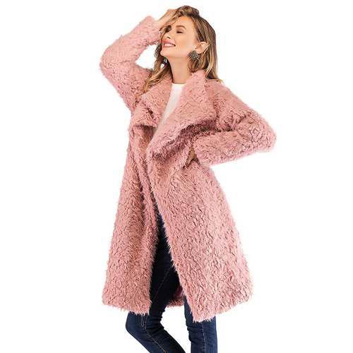 Wo Mujeres Invierno Escudo Chaqueta Elegante Faux Piel Coat