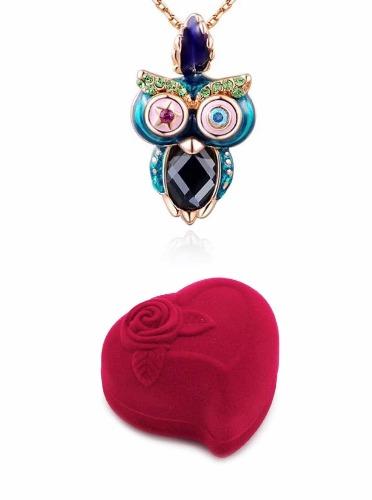 Collar Búho Swarovski Oro Rosa + Estuche Y Regalo Sorpresa.