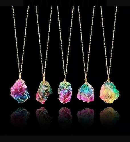 Collar Cuarzo Arcoiris Colores Chakras Meditacion Energia